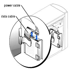 Disconnect the power and data cables