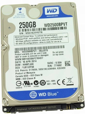 Data Recovery For Western Digital WD2500BPVT 250G