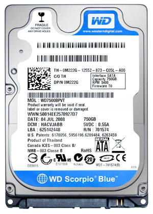 Data Recovery For Western Digital WD7500BPVT 750G